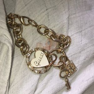GUESS Gold 00's Bedazzled Hearts Link Bracelet